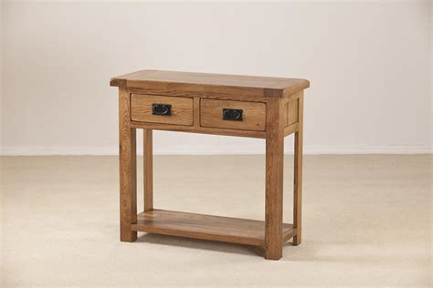 rustic console table with drawers rustic oak console table with 2 drawers oak