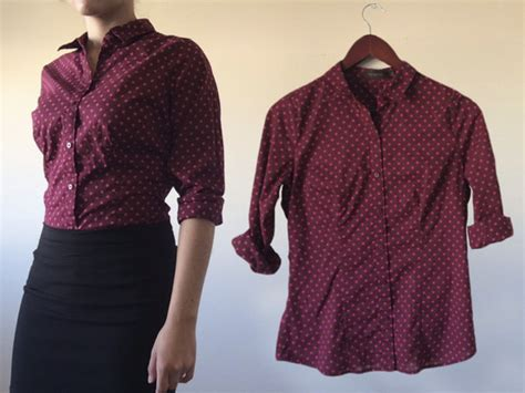 Gef Maroon Dotted Button Blouse blouse top t shirt button button up