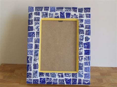 willow pattern mosaic blue broken china mosaic photo frame classic blue