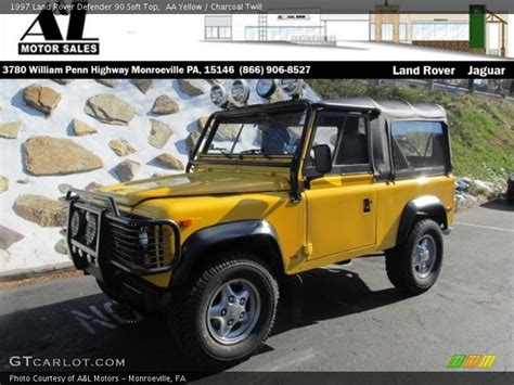 land rover defender 90 yellow 1997 land rover defender 90 top in aa yellow photo no
