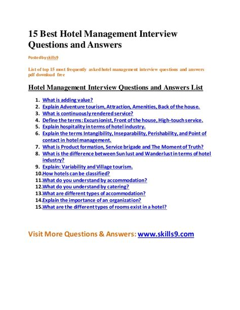 15 best hotel management questions and answers