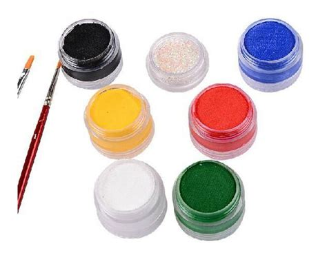 Painting Green 9 G paint painting 6 colors set brushes glitter colored drawing pigment 9g water based