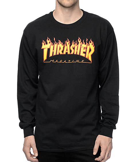Hoodie Jumper Jaket Skate Thrasher Black thrasher logo black sleeve t shirt zumiez