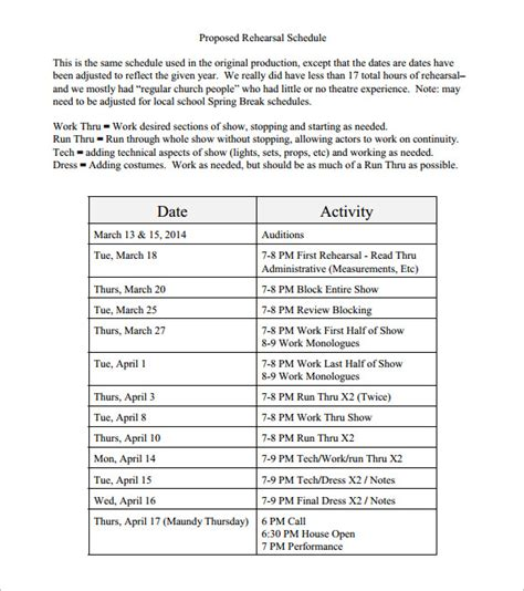 wedding rehearsal schedule template 13 rehearsal schedule templates word excel pdf free