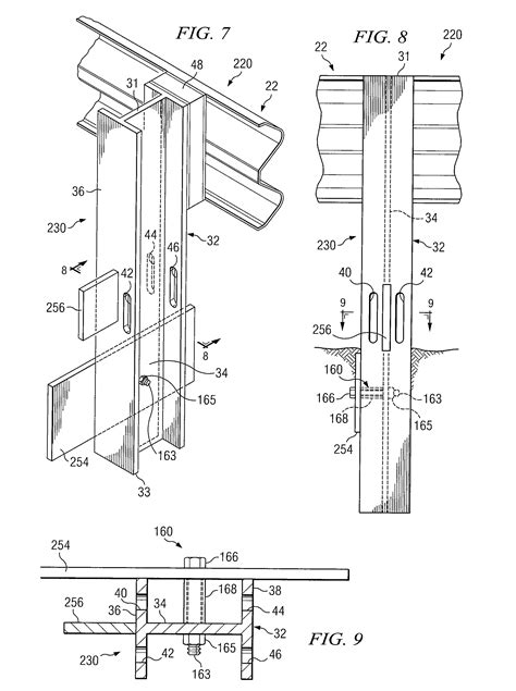 Handrail Support Brackets Patent Us8038126 Breakaway Support Post For Highway