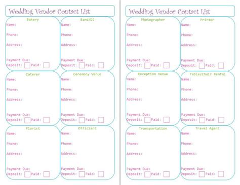 Wedding Vendor by Wedding Planner Printables Peanut And Jellybean