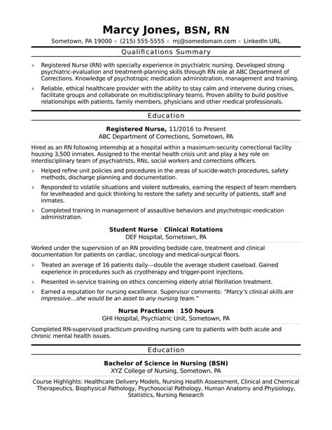 nursing student resume sle skills registered rn resume sle