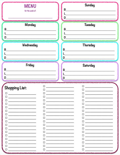 grocery list planner printable free printables weekly meal planner grocery list the