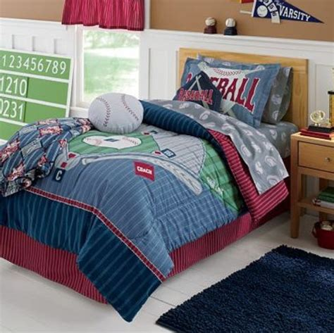 Sports Boys Baseball Field Themed Twin Comforter Set 6pc Baseball Bedding Set