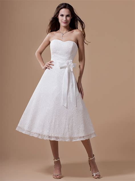 Informal White Wedding Dresses by Vintage Tea Length Lace Wedding Dresses White