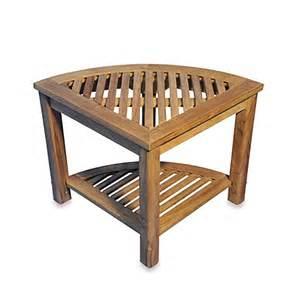 buy the teak corner shelf or shower stool from bed