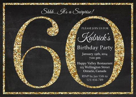 60th birthday invitation gold glitter birthday party