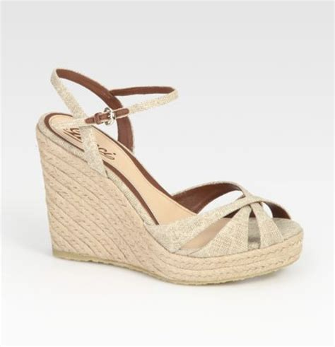 gucci penelope linen and leather espadrille wedge sandals