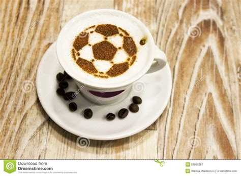 Modern Coffee Mugs by A Cup Of Coffee With Soccer Ball Stock Photo Image 51869287