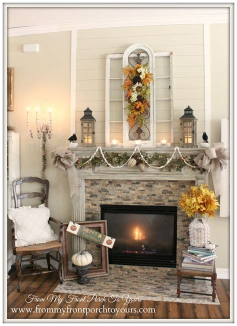 farmhouse fireplace mantel from my front porch to yours farmhouse fall mantel