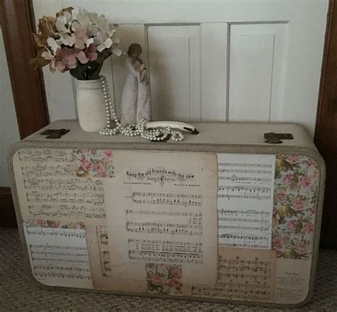 vintage suitcase shabby chic floral sheet music a shabby look pinterest shabby chic
