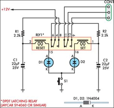 Momentary Switch Teamed With Latching Relay Circuit Diagram