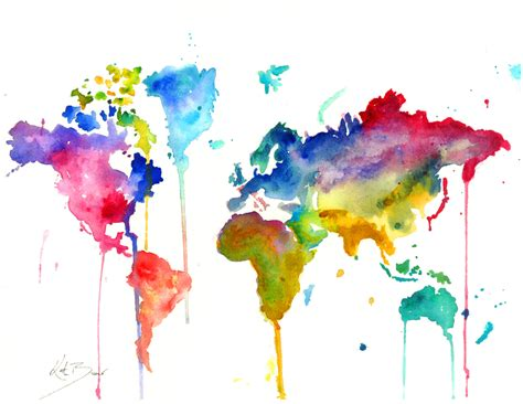 The World In Watercolor by World Map Print Of Original Watercolor By Milkandhoneybread