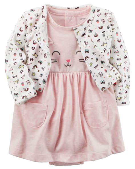 Baby Romper Cardigan Rg H 2 heathered bodysuit dress cardigan set carters