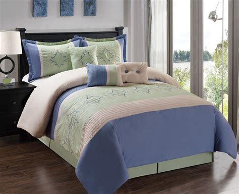 blue and beige bedding 7 piece blue sage beige comforter set