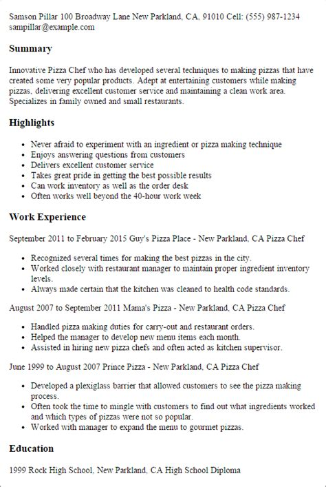 Chef Manager Sle Resume by Professional Pizza Chef Templates To Showcase Your Talent Myperfectresume