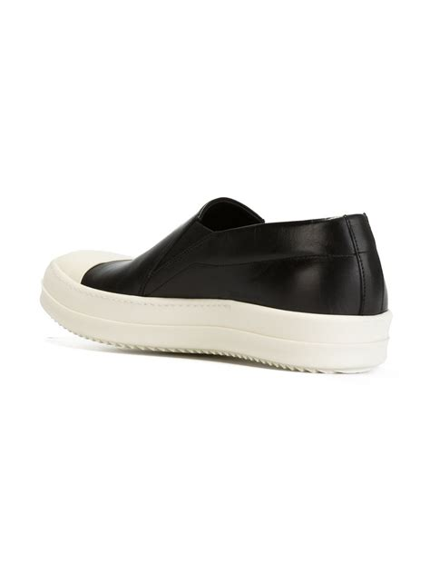 slip on sneakers for rick owens leather slip on sneakers in black for lyst