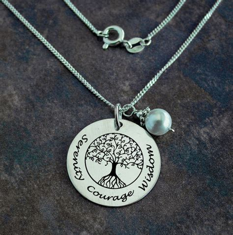 tree of necklace serenity necklace courage jewelry