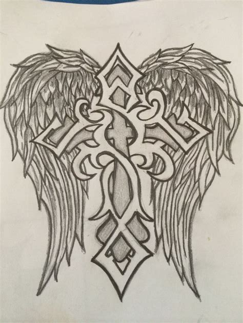 cross angel wings tattoo designs best 25 cross drawing ideas on cross