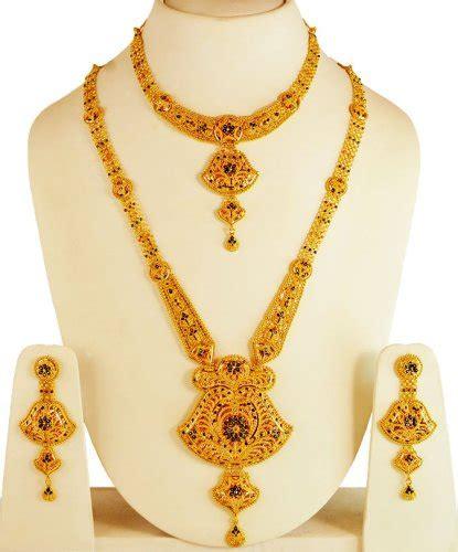Set Necklace Earrings C73934 Gold 22kt gold bridal necklace set ajns61681 22kt gold