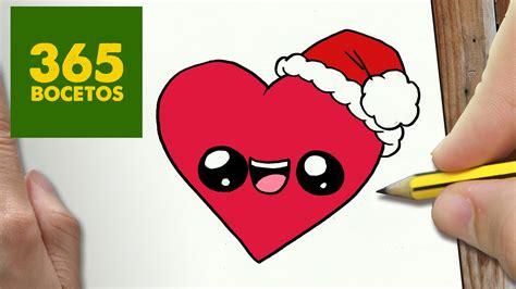 imágenes de navidad kawaii como dibujar un corazon para navidad paso a paso dibujos