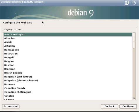 xorg keyboard layout debian step by step install debian 9 0 netinstall version
