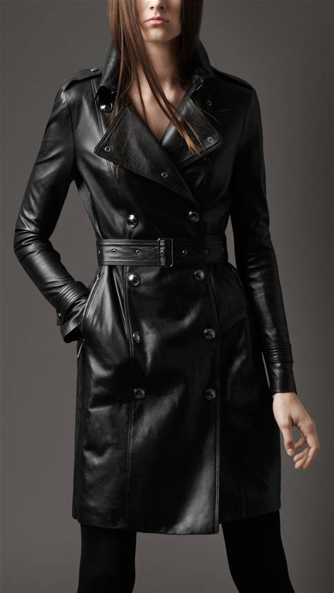 Burberry Style Leather burberry ribbed panel leather trench coat