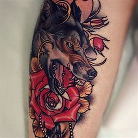 wolf and rose tattoo 40 american traditional wolf ideas 2018