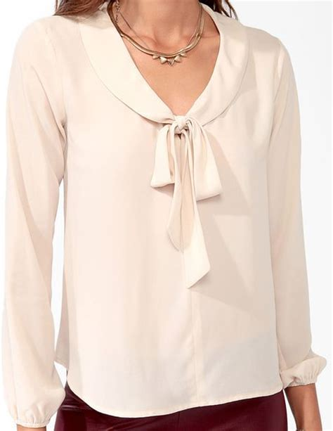 Blouse Jumbo 21 forever 21 textured tie collar blouse in pink lyst