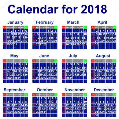 2018 년 달력 스톡 벡터 169 Liluly332201 30774675