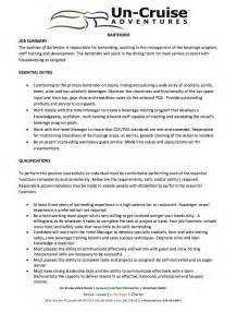 resume for bartender position descriptions exles of personification bartender job description for resume resumes design