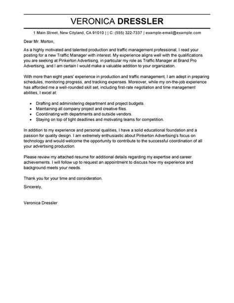 production manager cover letter exles best traffic and production manager cover letter exles