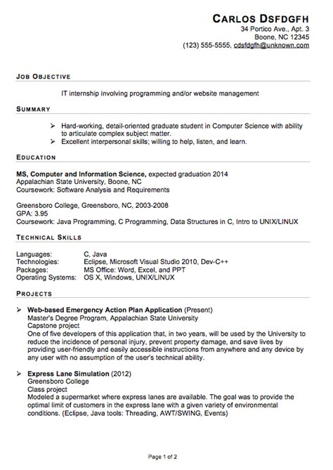 Resume For An Internship functional resume sle for an it internship susan