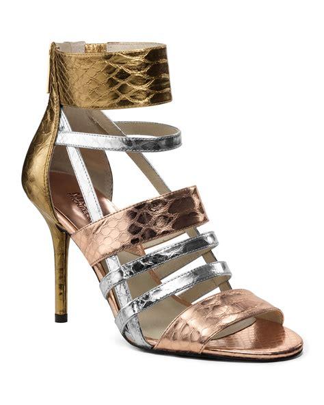 michael kors sandals gold michael kors michael shiloh multimetallic strappy sandal