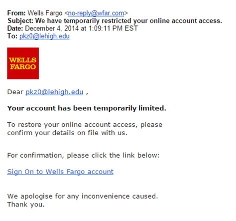 wells fargo help desk recent phishing exles library technology services