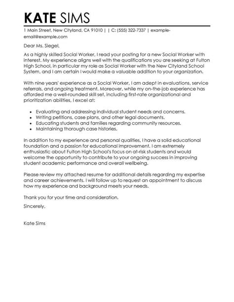 cover letter for caseworker best social worker cover letter exles livecareer
