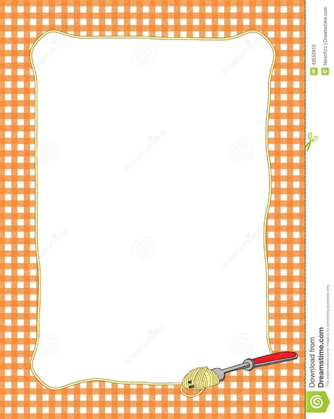 Pasta Themed Orange Frame Stock Illustration Image 43552910
