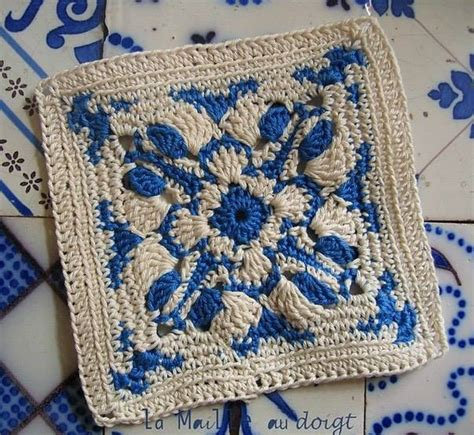 Blue Gypsea Crochet 1 blue and white crochet square crochet kingdom