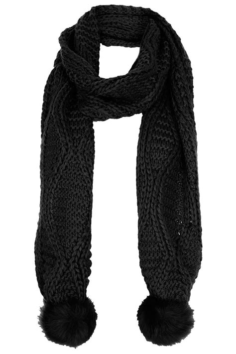 Asos Faux Fur Scarf In Black lyst topshop fur pom cable scarf in black