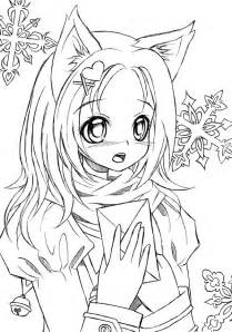 Catgirl Lineart By Liadebeaumont On Deviantart Anime Cat Coloring Pages