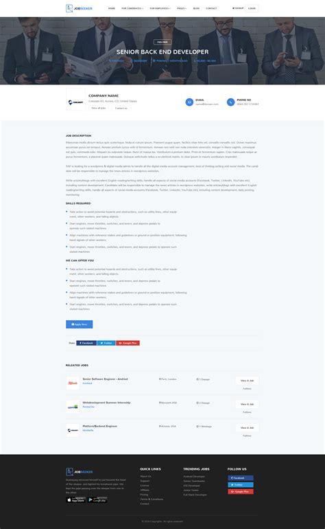 themeforest job portal jobseeker job portal psd template by techmerea themeforest