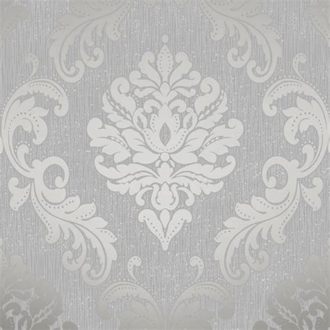 White And Gray Kitchen by Henderson Interiors Chelsea Glitter Damask Wallpaper Soft