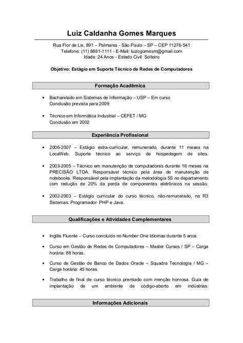 Modelo Curricular Social Modelo De Curriculum 2 Preenchido