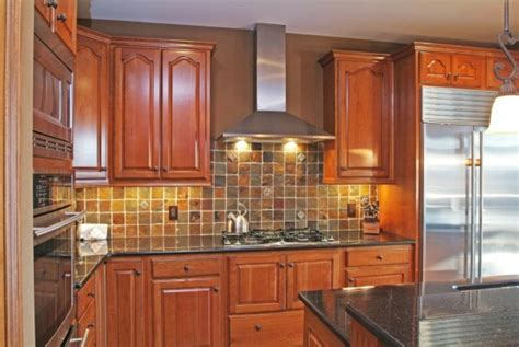 kitchen backsplash cherry cabinets cherry cabinets and slate backsplash