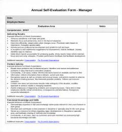 employee self evaluation form template sle self evaluation forms 11 free documents in word pdf